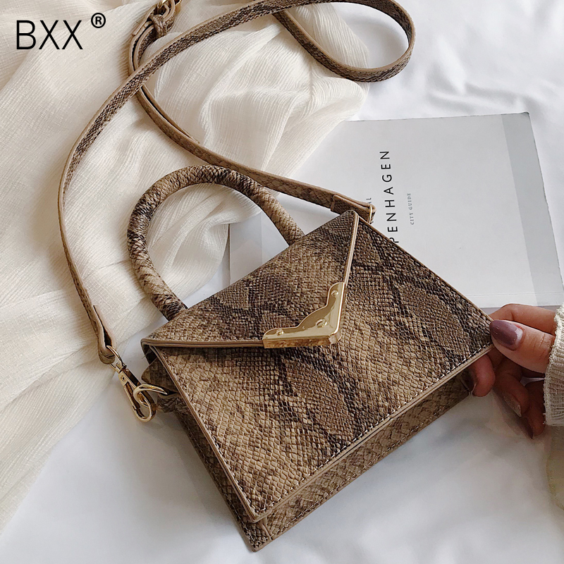 [BXX] Women's Single Shoulder Crossbody Bag All-match 2020 Personality Snake Portable Bag Female Vintage Handbag Package HF206