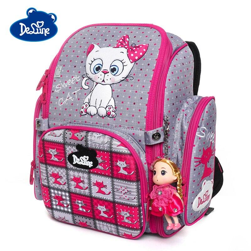 Delune 2019 3D Cat Pattern School Bags For Girls Boys Children Orthopedic Backpacks Cartoon Owl Satchel