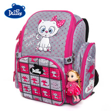 Delune 2019 3D Cat Pattern School Bags For Girls Boys Children Orthopedic Backpacks Cartoon Owl Satchel Student Mochila Infantil