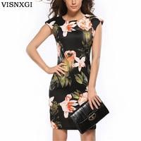 New Femme Vestidos Dress Sleeveless Ladies Floral Tunique Bodycon Pencil Dresses Elegant Design Clothes Women Flowers