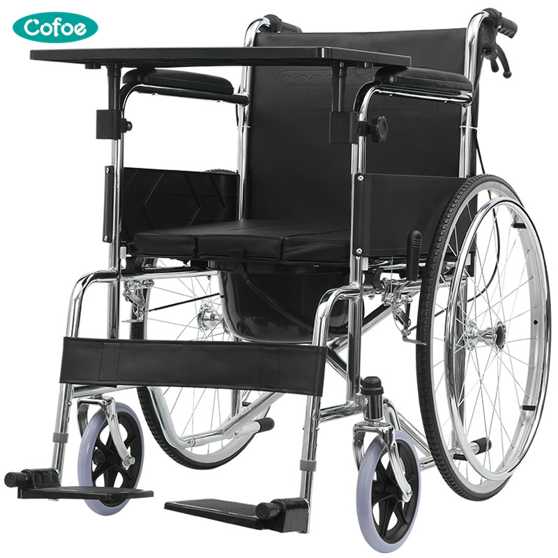 Cofoe Yiwen Wheelchair Portable Folding Trolley Travel Scooter with Pedestal Pan for Old People the Disabled 2018 Newest portable cofoe yishu wheelchair full back rest folding galvanized steel scooter with pedestal pan for the aged 2018 newest