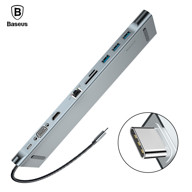 Baseus USB HUB 10 in 1 USB C to HDMI VGA RJ45 SD/TF Card Reader USB Splitter For Macbook Samsung Galaxy S9/S8/S8+ USB-C HUB 3.0 телевизор samsung ue55mu6500u led 55 silver 16 9 3840x2160 usb rj 45 hdmi av dvb t2 c s2