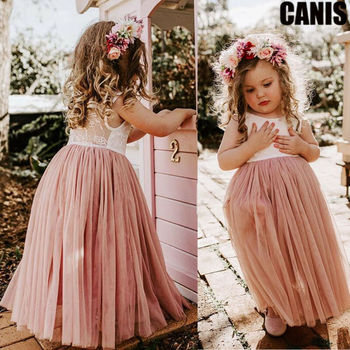 Vintage Flower Girls Dress for Wedding Evening Children Princess Party Pageant Long Gown Kids Dresses for Girls Formal Clothes цена 2017