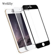 Wellzly borda curvada 3d para iphone 6s 8 plus cobertura completa vidro temperado para iphone 7 s 6s 8 plus premium tela de vidro engrossado(China)