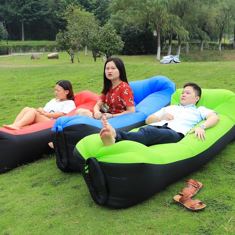 цена на 2018 outdoor Rapid inflatable portable air beach bed Camping Sofa banana bean bag sleeping bags beach camping laybag air sofa