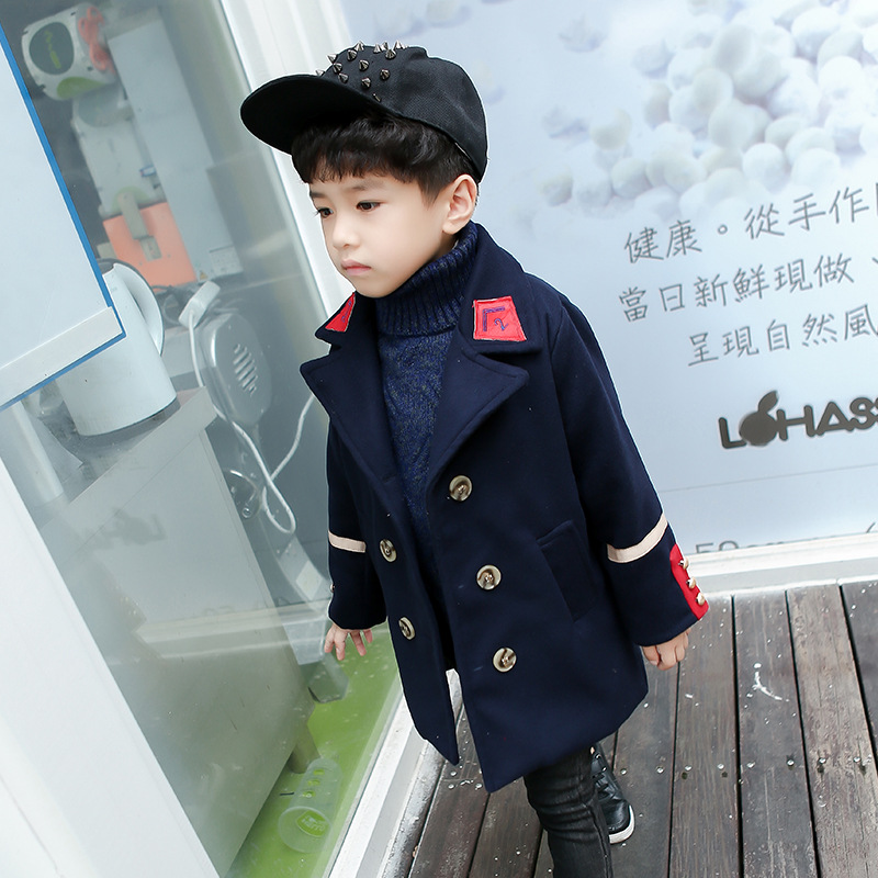 New Kids Clothes Boys Wool Coat Autumn Winter Woolen Jackets Children Thick Warm Trench Turn Down Collar School Kids Outwear