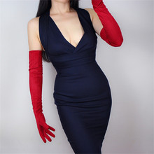 Woman Gloves 60cm Long Suede Leather Exceed Elbow Imitation Genuine China Red Evening Vestido Female Mittens TB88