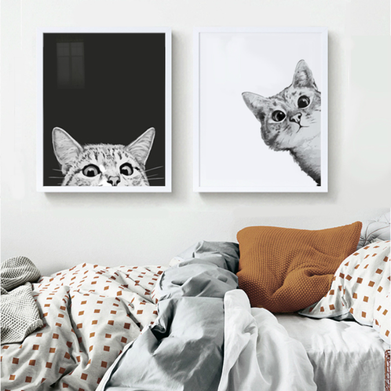 Nordic Hiding Cat DIY Oil Painting By Numbers Animals Hand paint Paints For Kids Home Decor Artwork Beauty