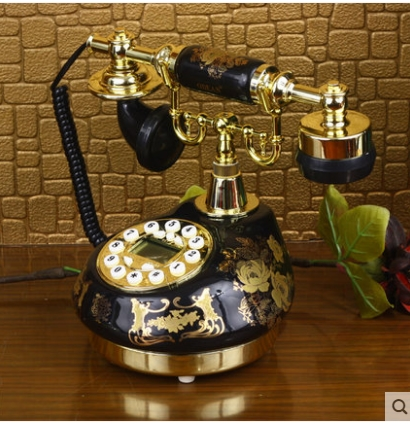 Black ceramic rustic antique home fashion vintage telephone Handsfree blue