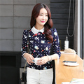 2016 Autumn Korean Fashion Marilyn Monroe Print Womens Shirts Doll Collar Vintage Womens Tops and Blouses	Femme Casual Blusas