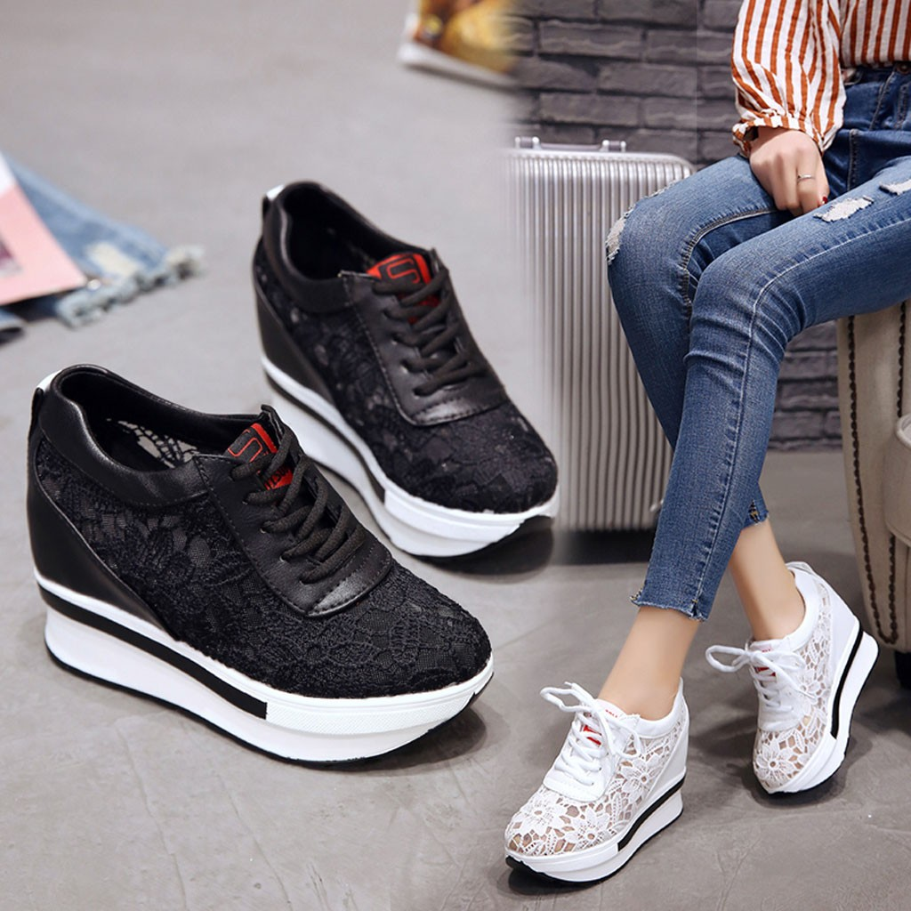 Women's Spring Summer Breathable  Mesh Running Shoes Wedges Casual Shoes Women Sneakers Platform Woman Sneakers Shoes 2019