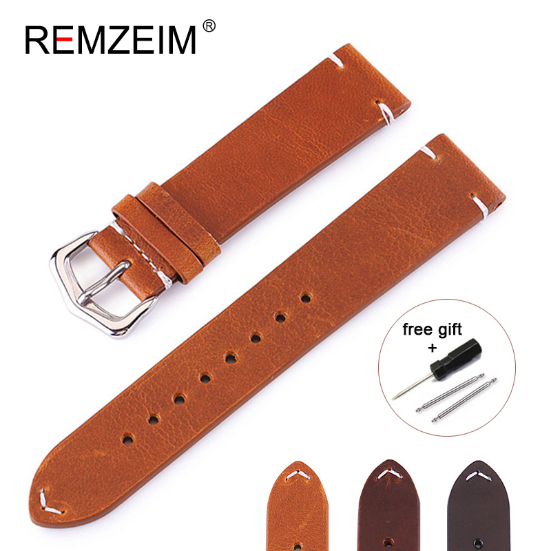 REMZEIM Genuine Leather 18mm 20mm 22mm 24mm High-end Retro 100% Calf Leather Brown Black Watch band Strap Watch Accessories eache 20mm 22mm 24mm 26mm genuine leather watch band crazy horse leather strap for p watch hand made with black buckles