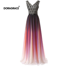 Doragrace robe de soiree V-Neck Sleeveless Lace-Up Lace Chiffon Gradient Evening Dresses Long Prom Gowns