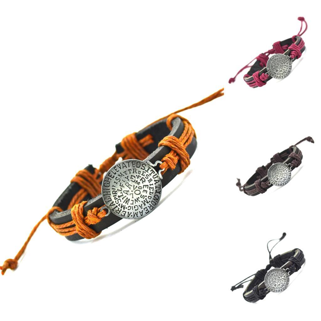 2015 Geschenke Echtes Leder Runde Brief Charme Armband Manschette Geflochtene Wrap Armband & Armreifen Mode Für Frauen Männer ZuverläSsige Leistung