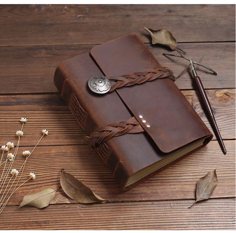 2019 à la main de haute qualité en cuir voyage magazine vert papier rétro cahier quotidien bloc-notes hommes et femmes logo personnalisé cadeau