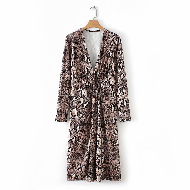 EDGLulu snake print <font><b>dress</b></font> new arrival women clothes 2019 midi <font><b>dress</b></font> sexy club wear vneck summer beach vacation <font><b>dress</b></font> image