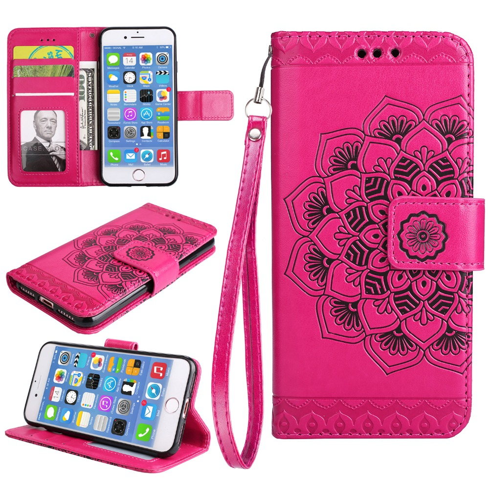 50pcs/lot Free shipping Half flower 3 card+photo frame PU leather skin cover case for iphone 5 6 7 8 X 6 7 8 plus flip case