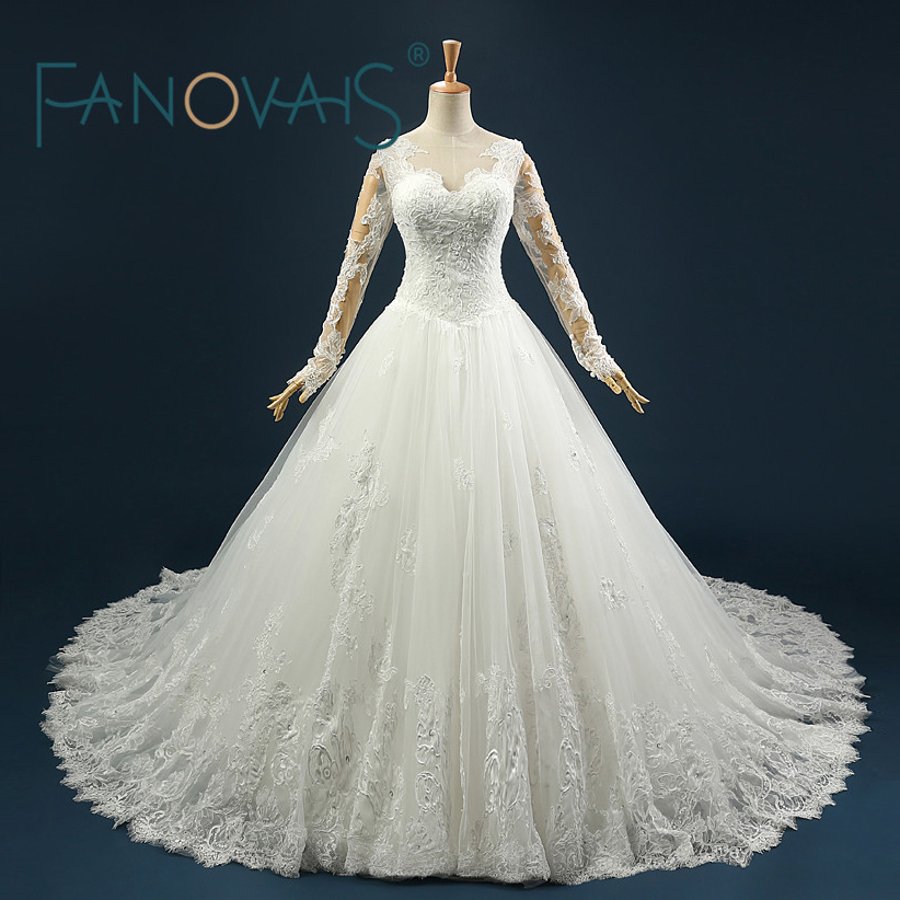 Real Photo Sexy V-neck Wedding Dress Vintage Illusion Long Sleeves Sequins Lace Applique Abito Da Sposa Rosa