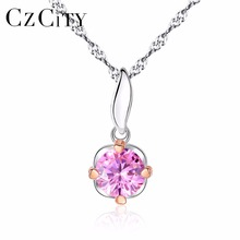CZCITY Simple Flowers Style Romantic Pink Zircon Stone Shiny Women 925 Silver Two-Color Gold Pendant Necklace Water Wave Chain