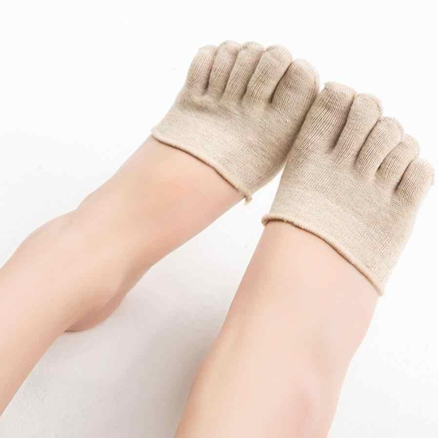 Mode 2018 femmes été coton chaussettes invisibles antidérapant orteil respirant confortable demi-poignée talon cinq doigts chaussette # F