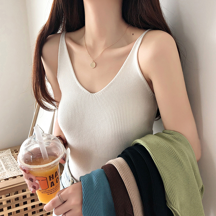 2019 Summer Sexy Knitted   Tank     Top   Women Crop   top   Solid V Neck T-shirt Female Sleeveless Vest Casual Camis Blouse