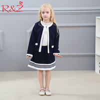R Z Baby Girls Clothes Set 2017 Autumn Fashion Stitching College Style Jacket Stripes Skirts Boutique
