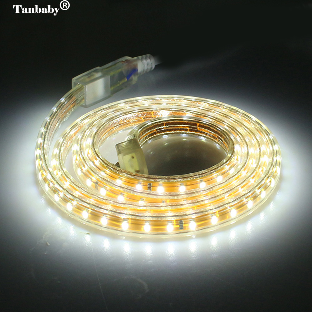 Tanbaby 220V IP67 Waterproof Led strip with EU Power Plug 3014 SMD 120 Leds/M White, Warm White outdoor indoor decoration