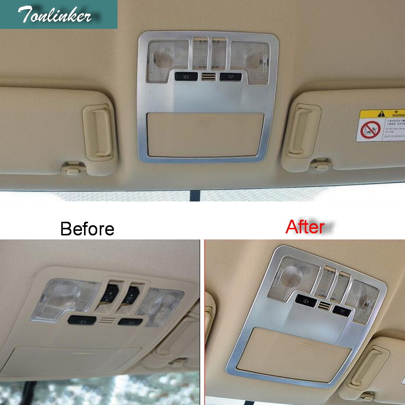 Tonlinker 1 PCS DIY Car styling ABS chrome Front reading lights light box Stickers for TOYOTA HIGHLANDER 2015 accessories