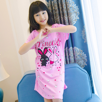 ab523bc343776 Summer Girl SleepDress Cute Short Pajamas Polyester Nightgowns Cute Print  Big Girl Sleepwear Cloth Outwear Nightdress