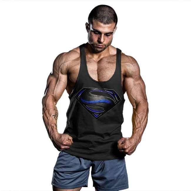 4e01c1d49b677 ... OA Men Superman Black Men Bodybuilding Tank Top Muscle Shirts Gym  Fitness Stringer Sports Sleeveless Vest ...
