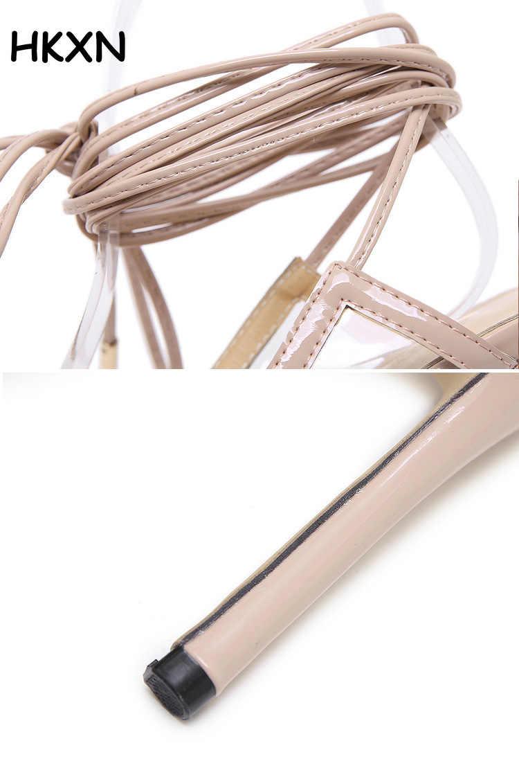 2019 أحذية نسائية المشاهير ارتداء أسلوب بسيط PVC واضح الكاحل Strappy و مشبك الصنادل عالية الكعب أحذية صناديل للنساء