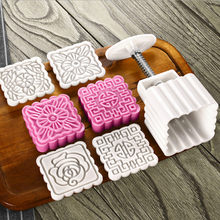 949198f00 100 Grams Square Flower Shaped Moon Cake Mold Chinese Traditional Festival  Hand Press Mooncake Mould Plastic Baking Pastry Tools