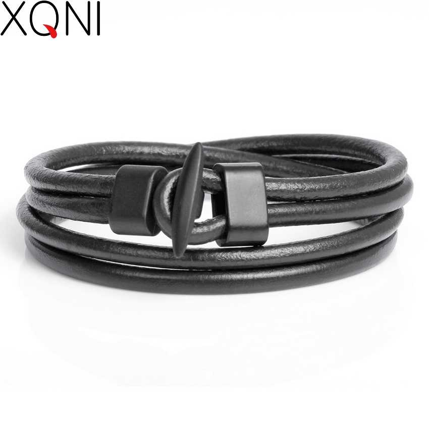 2017 New Arrival Fashion Leather Men's Bracelets Trendy Boys Knight Courage Bandage Charm Black Hook Bracelets.