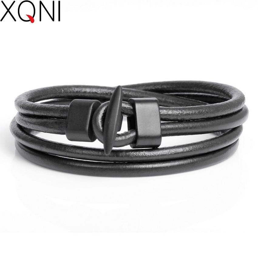 2017 chegada nova moda pulseiras masculinas de couro na moda meninos cavaleiro coragem curativo charme preto pulseiras de gancho.