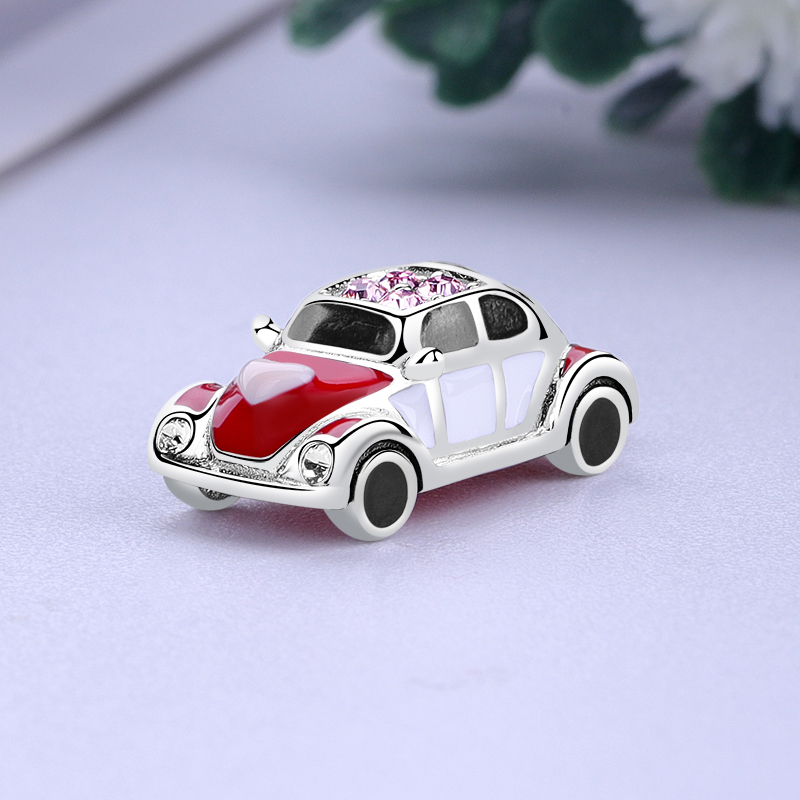 Women 925 sterling Fashion Sport Red Car Pendant Charm fit original safety chain