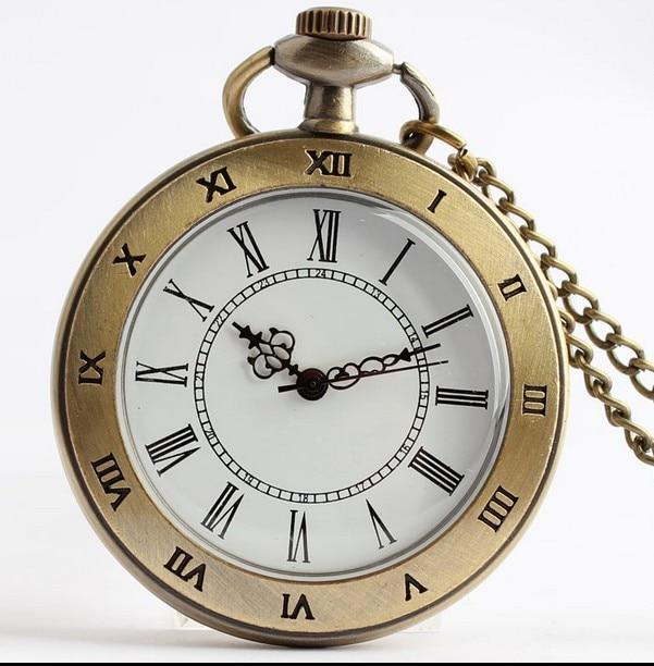 2019 New Roman Numerals Dual Display Fashion Quartz Bronze Antiques Men And Woman Necklace Pocket Watch