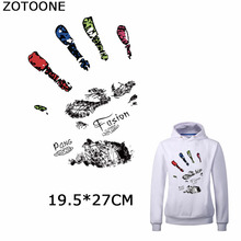 ZOTOONE Fashion Hand-print Iron on Transfer Patches Appliques Simple Diy Stickers for Clothing Washable Applications Crafts E