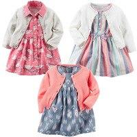 2017 New Arrival Baby Girl Clothes Set 3pcs Cardigan Dress Panties 100 Cotton Baby Born Cloth