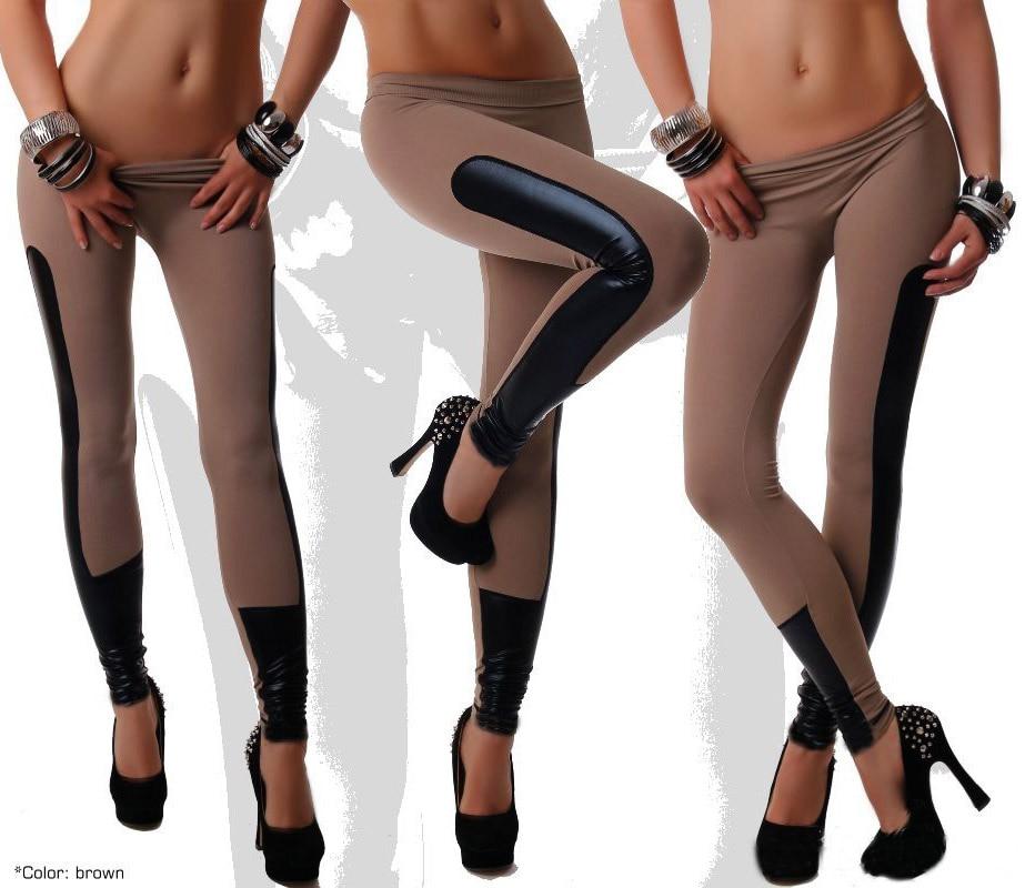 Mode Frauen Gamaschen Kunstleder Patchwork Jegging Hosen elastische Stretch Fitness Frauen Hosen