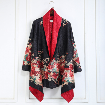 Fashion Women Elegant black Jacket red flower available double side wear classical design high quality outwear Free shipping фото