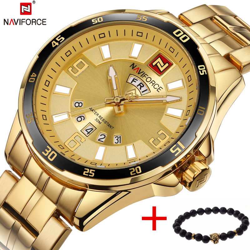 NAVIFORCE Top Brand Luxury Men's Sport Watches Men Waterproof Quartz Watch Man full steel Military Wrist watch Relogio Masculino top brand luxury watch men full stainless steel military sport watches waterproof quartz clock man wrist watch relogio masculino