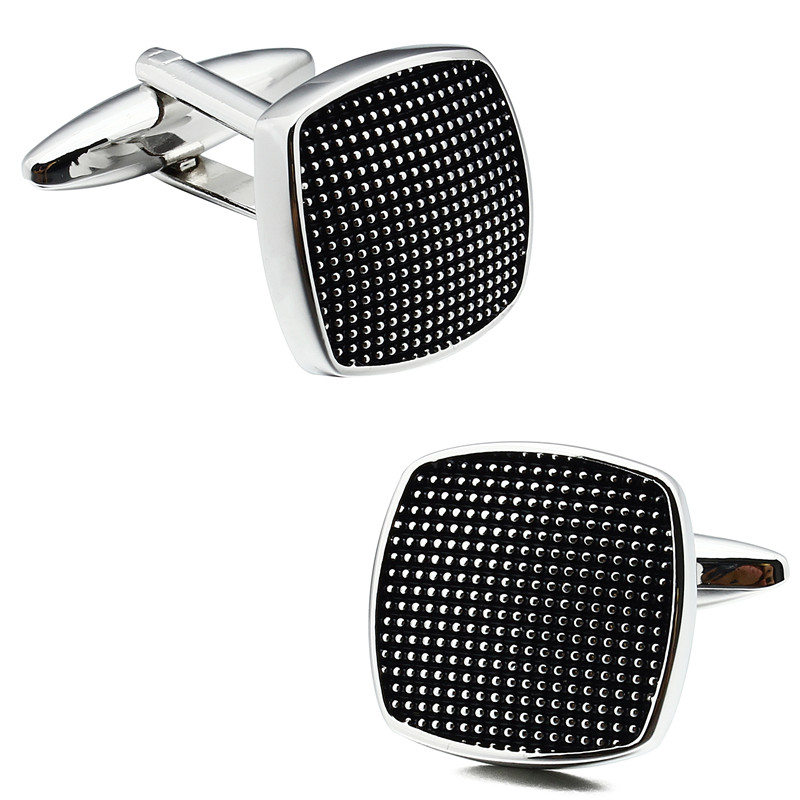 Square Black Enamel Man Shirt Cuff Links and Tie Bar Clips Set for - Fashion Jewelry - Photo 2