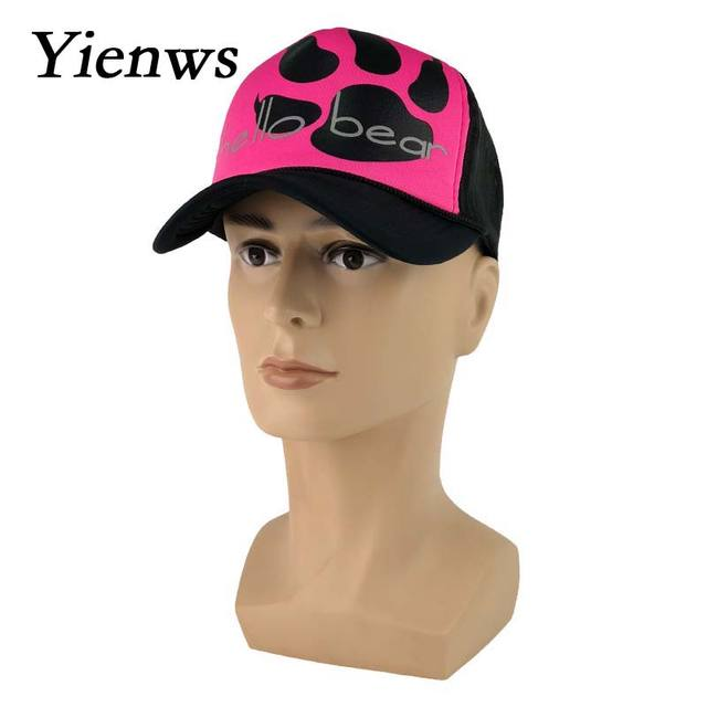 Yienws Summer Mesh Baseball Caps For Women Hello Bear Cartoon Net Bone  Female Trucker Hats Rosy 9d284ee0e4c3