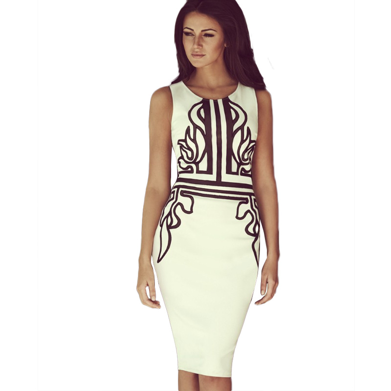 Fashion Sexy Summer Bodycon Dress 2017 Sleeveless Print Pencil Slim Elegant Party  Dresses Casual Colorful Ladies Vestidos Robe-in Dresses from Women s ... 72ad6dcc560a