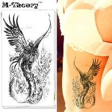 M-Theory Makeup Temporary Tattoos Body Arts Black Phoenix Flash Tatoos Sticker 12x20cm Waterproof Swimsuit Bikini Makeup Tools