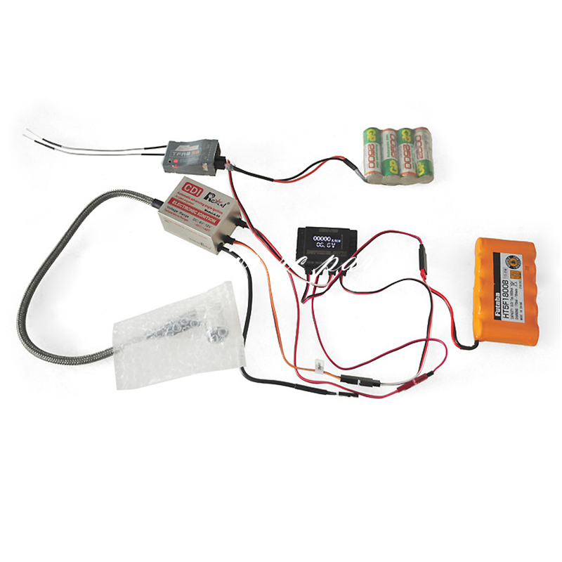 CRRCpro Model Airplane Gas Engine CDI Igniter with Remote Flameout Switch and RPM Tachometer 2in1
