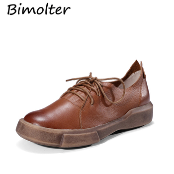 Bimolter Genuine Leather Flat Shoes Woman Cow Leather Oxford Shoes Spring Summer Brwon Black Casual Shoes Women Flats LFYA005