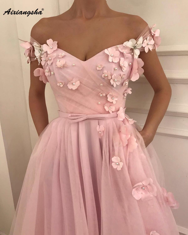 Long Pink Evening Dress 2019 Formal Party Gowns A-Line Off The Shoulder Appliques Evening Dresses De Soiree