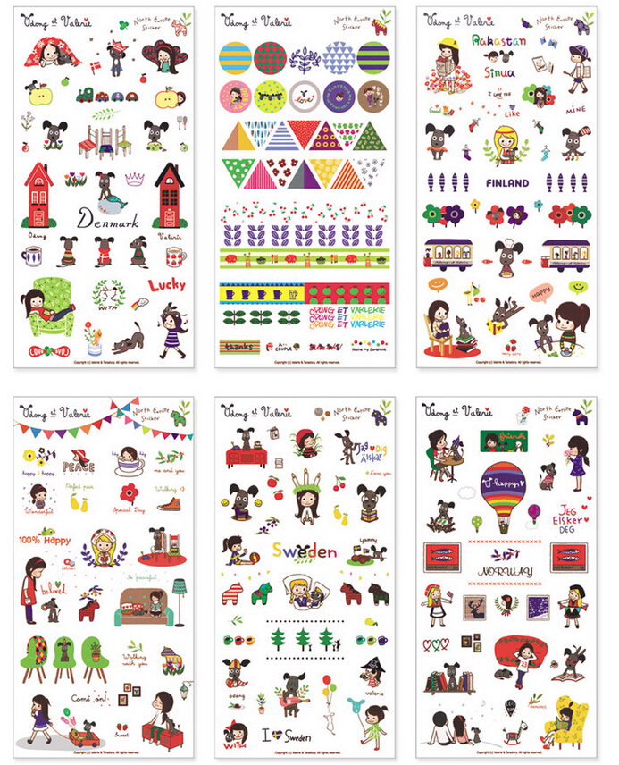 SST 6 Sheets Girl and Dog Stickers DIY Albums Diary Decoration Cartoon Scrapbooking Kindergarten Baby Gift