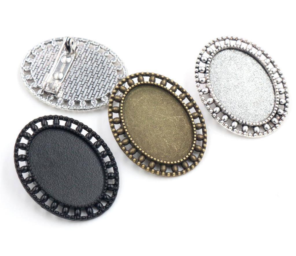 3 шт. 18×25 мм внутренняя Размеры старинное серебро бронза и черная Брошь Pin классический Стиль Камея Кабошон База Установка